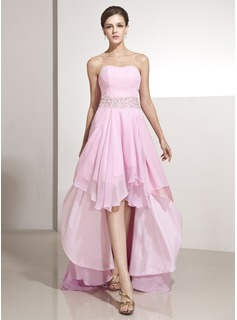 A-Line/Princess Sweetheart Asymmetrical Chiffon Holiday Dress With Ruffle Beading (020014207)