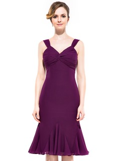 Sheath/Column V-neck Knee-Length Chiffon Bridesmaid Dress With Ruffle