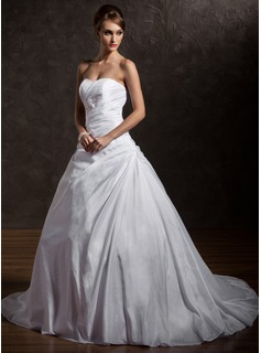 Ball-Gown Sweetheart Chapel Train Taffeta Wedding Dress With Ruffle Beading Appliques Lace Sequins