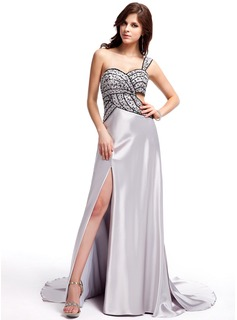 Sheath Sweetheart Watteau Train Charmeuse Evening Dress With Beading Sequins