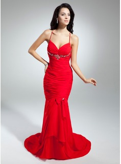 Mermaid V-neck Court Train Chiffon Evening Dress With Ruffle Beading (017014897)