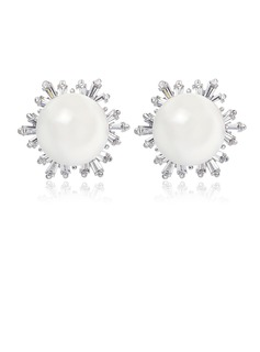 Pearl/Zircon/Platinum Plated Ladies' Earrings