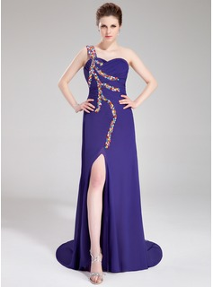 Sheath One-Shoulder Watteau Train Chiffon Evening Dress With Ruffle Beading