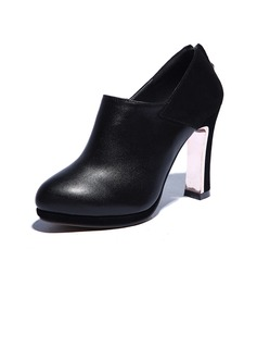 Real Leather Chunky Heel Ankle Boots shoes