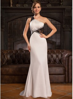 Trumpet/Mermaid One-Shoulder Sweep Train Lace Satin Chiffon Evening Dress With Beading Sequins