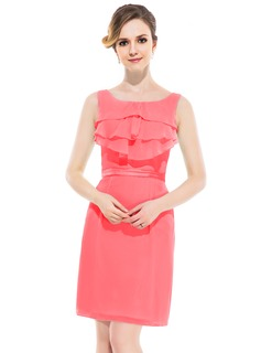 Sheath/Column Scoop Neck Knee-Length Chiffon Charmeuse Bridesmaid Dress With Ruffle Cascading Ruffles