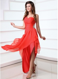 A-Line/Princess One-Shoulder Asymmetrical Chiffon Prom Dress With Ruffle Beading (018017339)