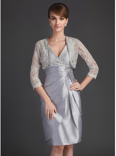 Sheath/Column V-neck Knee-Length Taffeta Lace Mother of the Bride Dress With Beading Sequins Cascading Ruffles