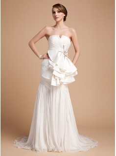 Sheath/Column V-neck Court Train Chiffon Satin Wedding Dress With Ruffle Beadwork
