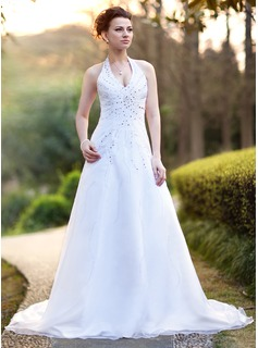 A-Line/Princess Halter Chapel Train Organza Satin Wedding Dress With Beadwork Sequins