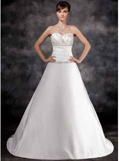 A-Line/Princess Sweetheart Chapel Train Charmeuse Wedding Dress With Ruffle Beadwork