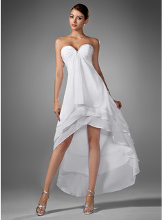 Empire Sweetheart Asymmetrical Chiffon Homecoming Dress With Ruffle Beading