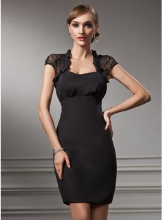 Sheath Sweetheart Knee-Length Chiffon Lace Cocktail Dress (016021212)
