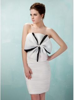 Sheath Strapless Short/Mini Organza Cocktail Dress With Ruffle Sash