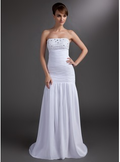 Mermaid Strapless Court Train Chiffon Prom Dress With Ruffle Beading (018004838)