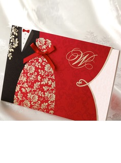 la novia y del novio del estilo Wrap & Pocket Invitation Cards