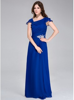 A-Line/Princess Floor-Length Chiffon Evening Dress With Ruffle Appliques
