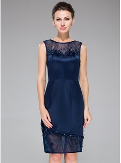 Sheath/Column Scoop Neck Knee-Length Satin Lace Cocktail Dress With Beading Flower