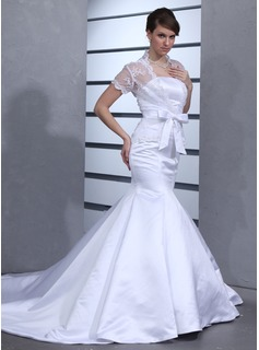 Mermaid Strapless Chapel Train Satin Wedding Dress (002012701)