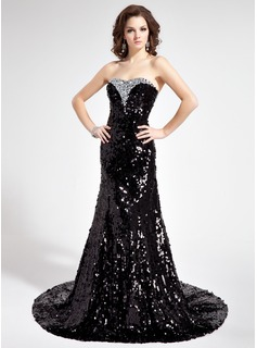 Mermaid Sweetheart Court Train Sequined Prom Dress With Beading (018018907)