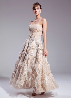 A-Line/Princess Sweetheart Ankle-Length Chiffon Satin Lace Wedding Dress With Ruffle Flower