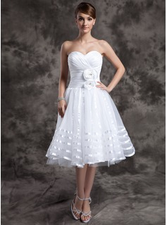 A-Line/Princess Sweetheart Knee-Length Taffeta Organza Wedding Dress With Ruffle Flower(s) (002014974)