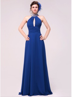 A-Line/Princess Halter Floor-Length Chiffon Evening Dress With Ruffle Beading (017014021)