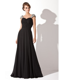 A-Line/Princess Sweetheart Court Train Chiffon Evening Dress With Ruffle Beading Sequins (017005826)