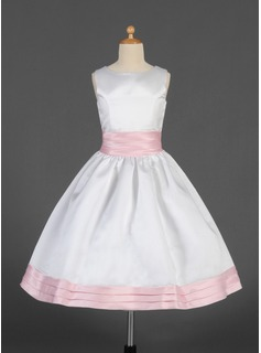 A-Line/Princess Scoop Neck Tea-Length Satin Flower Girl Dress With Sash