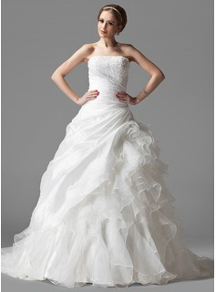 Ball-Gown Strapless Chapel Train Taffeta Organza Wedding Dress With Ruffle Lace
