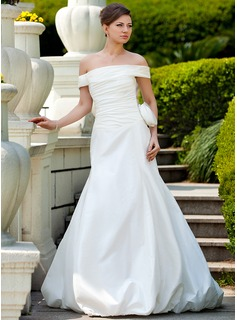 A-Line/Princess Off-the-Shoulder Court Train Taffeta Wedding Dress With Ruffle Flower(s)