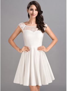 A-Line/Princess Scoop Neck Short/Mini Lace Jersey Homecoming Dress