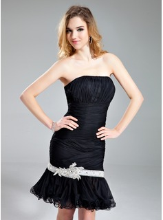 Sheath/Column Sweetheart Knee-Length Tulle Cocktail Dress With Ruffle Sash Beading Sequins