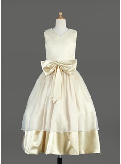 A-Line/Princess V-neck Tea-Length Organza Charmeuse Flower Girl Dress With Sash Bow(s)