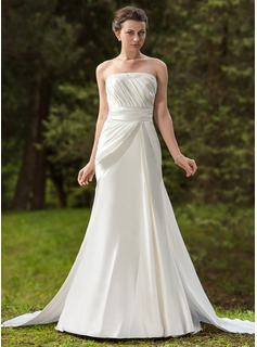 A-Line/Princess Strapless Watteau Train Satin Wedding Dress With Ruffle Beadwork