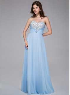 A-Line/Princess Sweetheart Floor-Length Chiffon Prom Dress With Ruffle Lace Beading