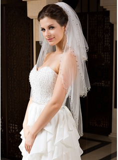 Three-tier Fingertip Bridal Veils With Finished Edge