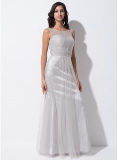 Trumpet/Mermaid Scoop Neck Floor-Length Tulle Charmeuse Evening Dress With Ruffle Beading Sequins