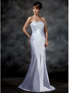 Mermaid Sweetheart Sweep Train Charmeuse Wedding Dress With Lace Beadwork