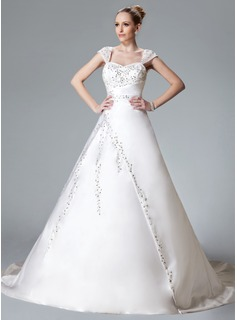 Ball-Gown Sweetheart Chapel Train Satin Wedding Dress With Embroidery Beadwork (002000558)