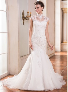 Trumpet/Mermaid High Neck Court Train Organza Wedding Dress With Lace Beading Sequins