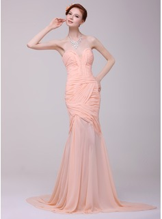 Mermaid Sweetheart Court Train Chiffon Prom Dress With Ruffle Beading (018016216)