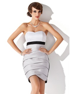 Sheath Sweetheart Short/Mini Satin Cocktail Dress (016008560)