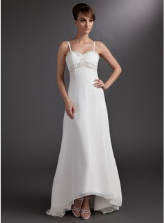 A-Line/Princess Sweetheart Asymmetrical Chiffon Wedding Dress With Lace Beadwork
