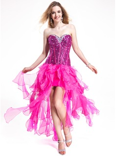 A-Line/Princess Sweetheart Floor-Length Organza Sequined Prom Dress With Beading Cascading Ruffles