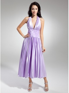 A-Line/Princess Halter Tea-Length Charmeuse Homecoming Dress With Ruffle Lace Beading