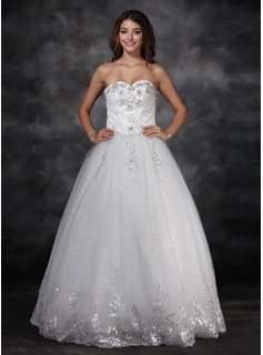 Ball-Gown Sweetheart Floor-Length Satin Tulle Wedding Dress With Lace Beadwork Flower(s) Sequins (002017122)