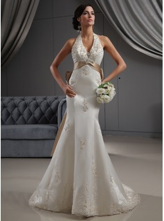 Trumpet/Mermaid Halter Chapel Train Satin Wedding Dress With Embroidery Lace Sash Beading Sequins Bow(s) (002022688)