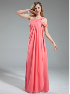 A-Line/Princess One-Shoulder Floor-Length Chiffon Bridesmaid Dress With Cascading Ruffles