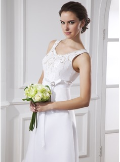 A-Line/Princess Scoop Neck Tea-Length Organza Satin Wedding Dress With Sash Beadwork